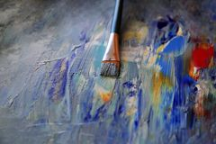 Closeup background of brush and palette stock photography