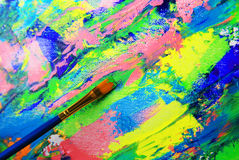 Closeup background of brush and palette Royalty Free Stock Image