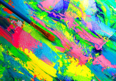 Closeup background of brush and palette Royalty Free Stock Photo