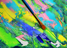 Closeup background of brush and palette Royalty Free Stock Photos