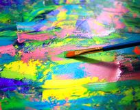 Closeup background of brush and palette Stock Image