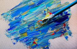 Closeup background of brush and palette Royalty Free Stock Images
