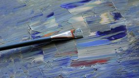 Closeup background of brush and palette Royalty Free Stock Photography