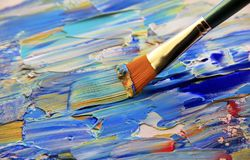 Closeup background of brush and palette. Closeup background of brush and palette royalty free stock photo