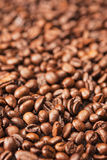 Closeup Background Made of Heap of Roasted Coffee Beans. Stock Images