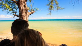Closeup Backside Guy Girl Sit in Front of Tree Admire Sea. Closeup backside view guy and girl sit in front of tree trunk admire shallow golden distant azure sea stock footage