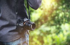 Closeup backside view of photographer royalty free stock photo
