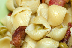 Closeup of bacon pea pasta Royalty Free Stock Photos
