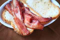 Closeup of bacon sandwich Stock Photography