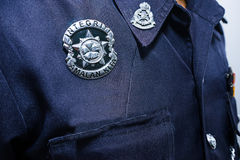 Closeup of the badge of Malaysia  Police officer. KUALA LUMPUR, MALAYSIA-DECEMBER 30,2015:Closeup of the badge of Malaysia  Police officer. Photo taken on Royalty Free Stock Image
