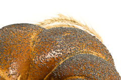 Closeup of bagel and  wheat corn isolated Royalty Free Stock Photos