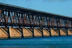 Closeup Bahia Honda Bridge. Closeup of the old Bahia Honda bridge crossing the Atlantic ocean and the Gulf of Mexico stock image