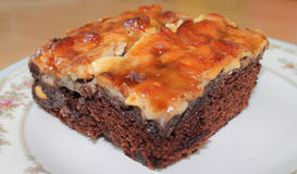 Closeup baked brownie Stock Photography