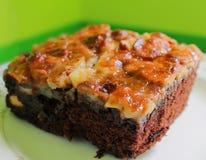 Closeup baked brownie Stock Photos