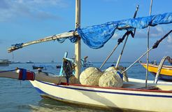 Closeup of Bali Outrigger fishing boat at Sanur, Bali Indonesia Royalty Free Stock Image