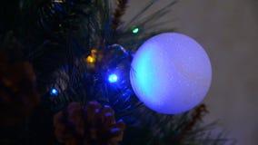 Closeup of a ball on the Christmas tree stock video