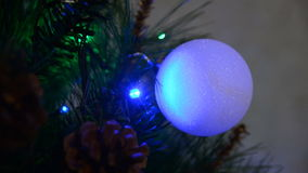 Closeup of a ball on the Christmas tree stock footage