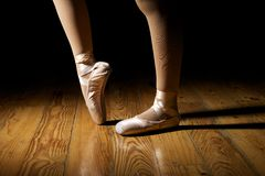 Closeup of Ballerina Feet stock photography