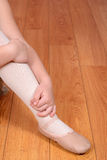 Closeup ballerina leg and shoe Royalty Free Stock Images