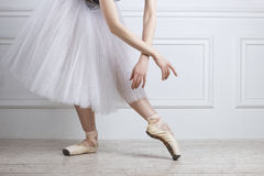 Closeup ballet dancer`s legs in pointes and hands. Posing on white studio background. She is wearing a tutu Stock Image