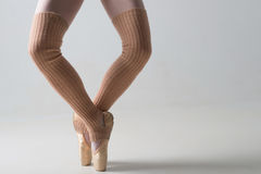 Closeup of ballet shoes dancing in pointe Royalty Free Stock Images