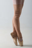 Closeup of ballet shoes dancing in pointe Royalty Free Stock Photos