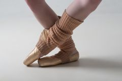 Closeup of ballet shoes dancing in pointe Stock Photography