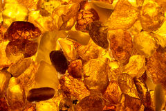 Closeup Baltic Amber Stones Rectangular Lie On A Surface