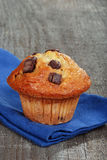 Closeup banana chocolate muffin with napkin Royalty Free Stock Images