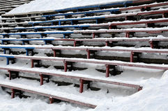 Closeup Bandy Stadium Stands Under Snow Stock Photography