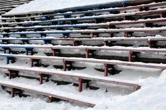 Closeup Bandy Stadium Stands Under Snow Stock Photography