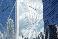 Closeup of Bank of China Tower in Hong Kong. Close-up of modern and glassy Bank of China Tower in Central, Hong Kong Island, Hong Kong, China stock photos