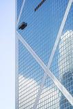Closeup of Bank of China Tower in Hong Kong stock images