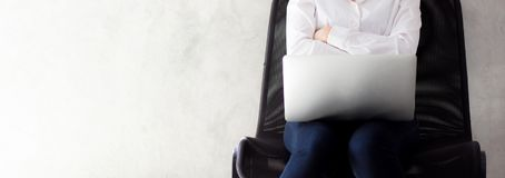 Closeup banner website beautiful asian young woman of success with laptop. royalty free stock image