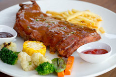 Closeup of barbecued pork ribs Stock Image