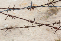 Closeup Barbed wire macro old. Royalty Free Stock Photography