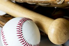 Closeup of baseball and bat royalty free stock photo