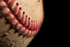 Closeup of a baseball. Close up of a used baseball royalty free stock image