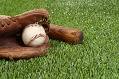 Closeup baseball in glove Royalty Free Stock Photography