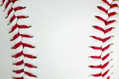Closeup of baseball stitching Royalty Free Stock Photo