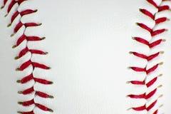 Closeup of baseball stitching. Closeup of red baseball stitching Royalty Free Stock Photo