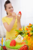 Closeup on basket of Easter eggs Royalty Free Stock Photography
