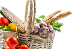 Closeup of basket full of fresh vegetables Royalty Free Stock Photos