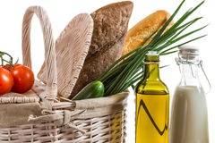 Closeup of basket full of healthy products Royalty Free Stock Images