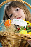 Closeup with basket and girl Stock Images