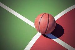 Closeup basketball ball on outdoor court Stock Image