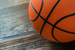 Closeup of Basketball on the Court Floor Royalty Free Stock Images
