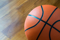 Closeup of Basketball on the Court Floor. Stock Photo