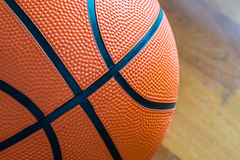 Closeup of Basketball on the Court Floor Royalty Free Stock Photography