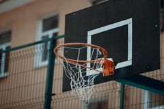 Basketball basket in the city royalty free stock images